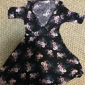 Charlotte Russe  floral, deep V, skater dress